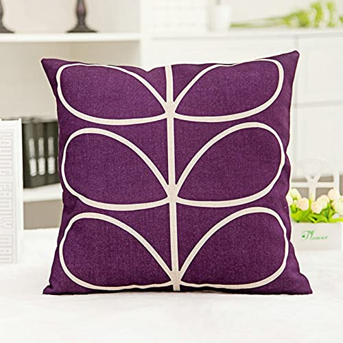 KnBoB Funda Almohada 50x50 cm Tela de Lino Cuadrado Púrpura Hojas Decora Sofa Silla Cama - Estilo 8