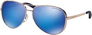 MK5004 Chelsea Aviator Sunglasses Rose Gold w/Blue Mirror (1003/25) MK 5004 100325 59mm Authentic
