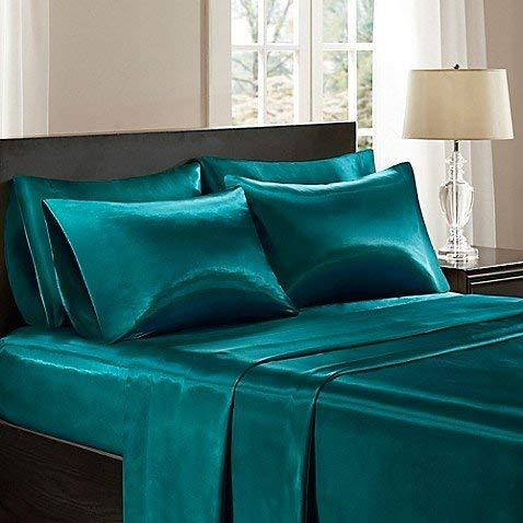 Bedify Bedding 100% Pure Silk Satin Sheet Set 4pcs, Silk Fitted Sheet 15'' Deep Pocket,Silk Flat Sheet & Pillowcases Set !!!King, Teal