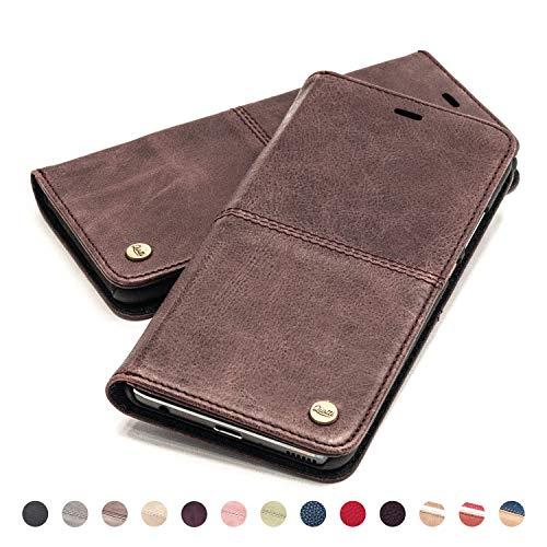 QIOTTI Hülle Kompatibel mit iPhone 8 iPhone 7 Ledertasche aus Hochwertigem Leder RFID NFC Schutz mit Kartenfach Standfunktion in Kaffee Braun