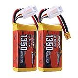 SUNPADOW XT30 - Juego de 2 baterías de polímero de litio 3S (11,1 V, 25 C, 1350 mAh, para cuadricóptero, cuadricóptero, FPV, modelo Racing Hobby