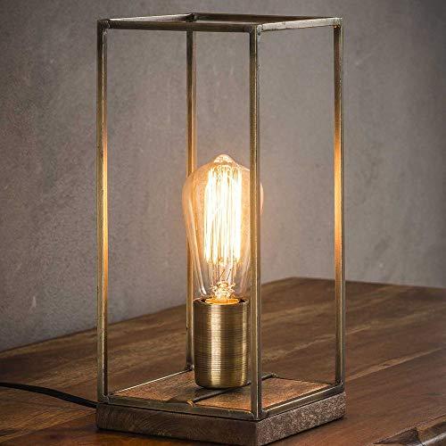 famlights Tischlampe e27 Tischlampe Metall & Holz- Tischlampe vintage - retro Tischleuchte fürs Wohnzimmer & Schlafzimmer/industrial design Nachttischlampe - Bronze