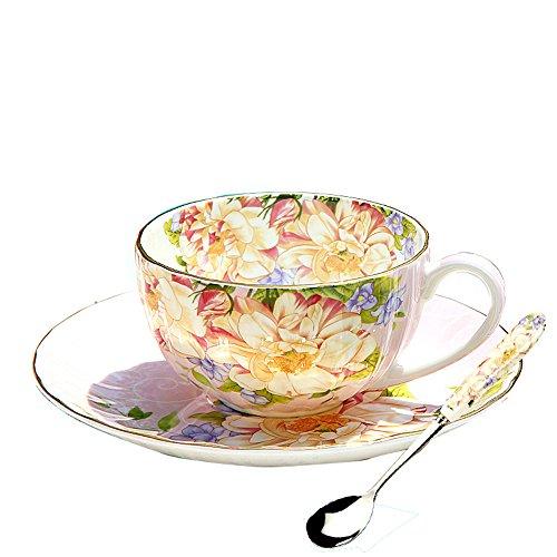 FYX Keramik Kaffeetasse Teetasse aus Hochwertigem Porzellan mit Untertasse und Löffel (8#)