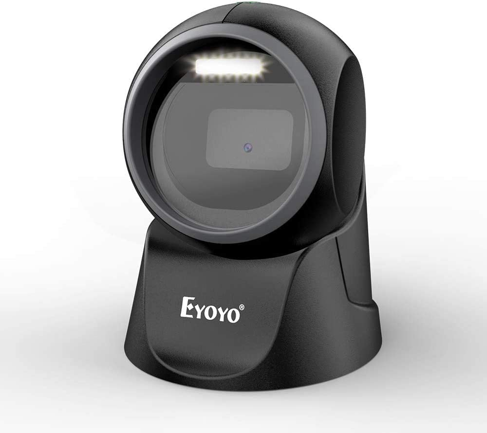 Eyoyo 2D Escáner de Código de Barras de Escritorio, 1D Lector de Código de Barras QR Manos Libres Omnidireccional con Escaneo de Detección Automática para PC, POS, Librería y Supermercado
