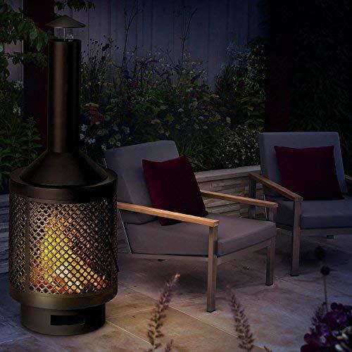 Blumfeldt Essos - Forno da esterno, forno da giardino, Forno da terrazza, stufa a legna, camino con cappa, design rustico, piastra dal diametro di Ø 45 cm, attizzatoio inlcuso, nero