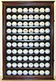 Large 80 Souvenir Golf Ball Display Case Holder Cabinet, Wall Mount (Mahogany)