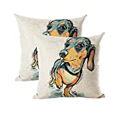 """INSHERE Cute Pet Dog Dachshund Pattern Pack of 2 Throw Pillow Covers Cotton Linen Cushion Cover Pillowcases Sofa Home Decor 18""""x 18"""" (Dog 15)"""