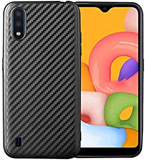 Samsung Galaxy A01 Case Cover Carbon Fiber Design TPU Black Soft Slim Flexible Shock Absorbent Protective Case Cover for S...