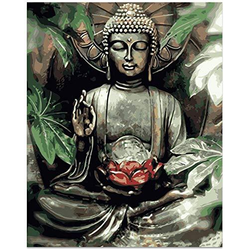 Buddha Bilder Malen nach Zahlen Kits Malerei Acryl DIY Ölgemälde für Kinder und Erwachsene Anfänger Buddha Leinwand, 40,6 cm B x 50,8 cm L Buddha-Farbe mit Pinsel, Bananenblatt-Buddha (ohne Rahmen)