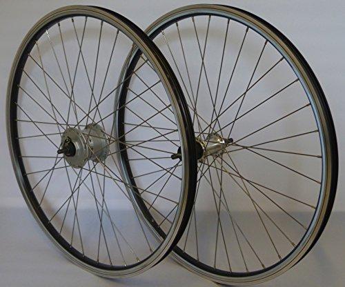 Vuelta 28 Zoll Fahrrad Laufradsatz Reflex Hohlkammerfelge schwarz Shimano Dynamo DHC30003/TX500 inkl. Schnellspanner Silber NIRO Silber