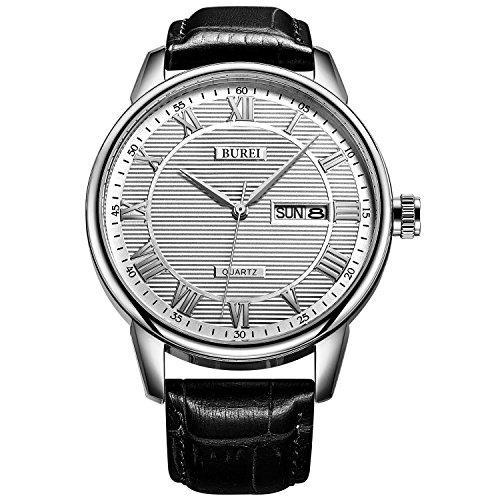 BUREI Uhren Herren Analog Quarz Herrenuhr mit Lederarmband Schwarz Armbanduhr Klassisch Herren Uhr Mit Datum(Silber)
