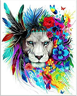 BATYCAB 5D Full Diamond Painting DIY Craft Kit, Lion Rhine Stone Wall Decoration, Cross Stitch Embroidery Beads Art Crafts...