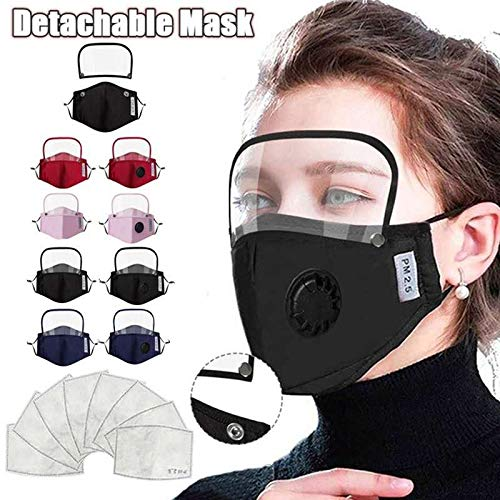 Cotton mask cotton cloth mask all-in-one face mask Full face protective screen face guard with breathing valve (adult black)