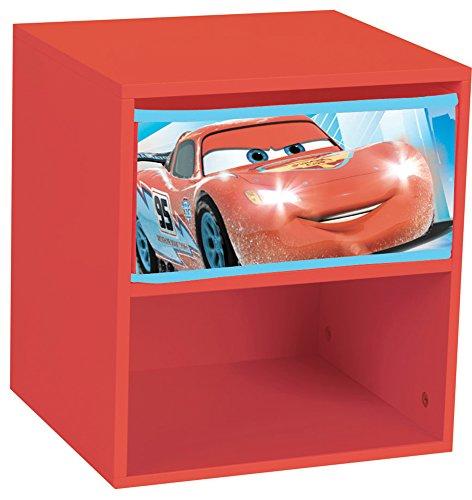 Fun House 712364- Comodino Disney Cars con cassetto, da Bambino, in MDF, 33x 30x 36cm, Colore: Rosso