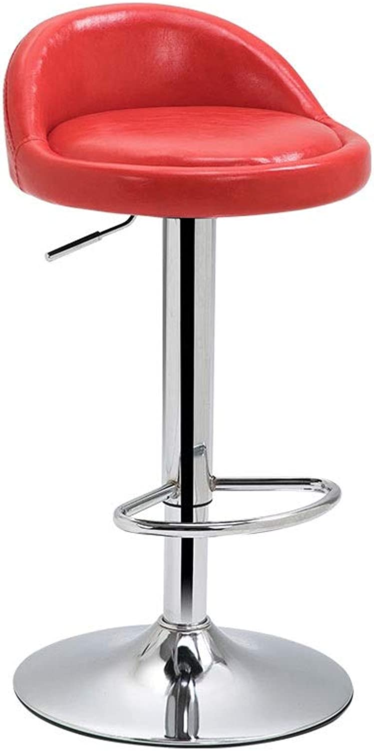 Bar Stools Modern Minimalist Breakfast Dining Stool Counter High Chair Adjustable Swivel Gas Lift Chrome Steel Footrest & Base (color   Red)