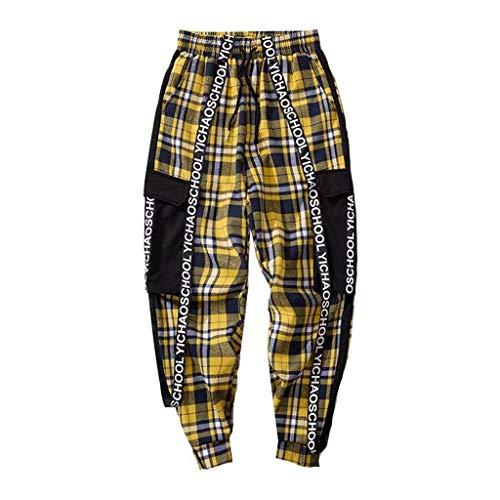 Heren lange jogger Cargo chino jeans broek elastische taille vrije tijd sportbroek slim fit ruiten joggingbroek Medium rood