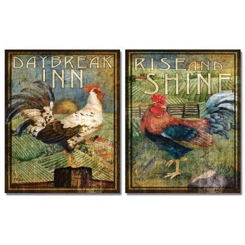 Chicken Rooster Hen Art Set of 4 Antique French Paintings Kitchen Decor 8 X 10