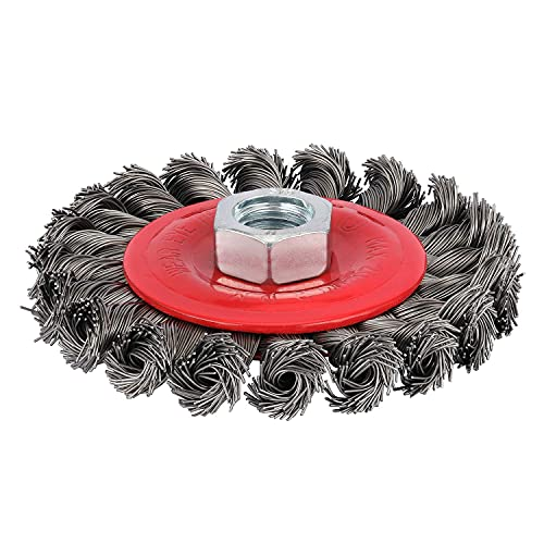 Makitoyo 4 inch Twisted Wire Wheel Brush for Angle Grinder, 5/8-Inch-11 Threaded Arbor, 0.002in Carbon Steel for Rust Removal, Abrasives, Stripping