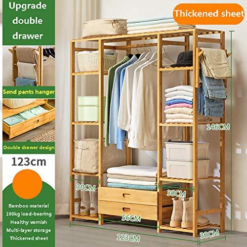 Perchero de pie Perchero de soporte de piso de dormitorio de ensamblaje simple, percha de cojinete de carga de 190 kg gruesa y reforzada, perchero de abrigo simple de bambú saludable, colgador de ropa