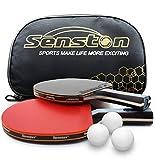 Senston Juego de Raquetas de Tenis de Mesa 3 Bolas Juego de Paleta Profesional de Ping Pong, Bate de Tenis de Mesa Juego de 2 Jugadores para el hogar Interior al Aire Libre