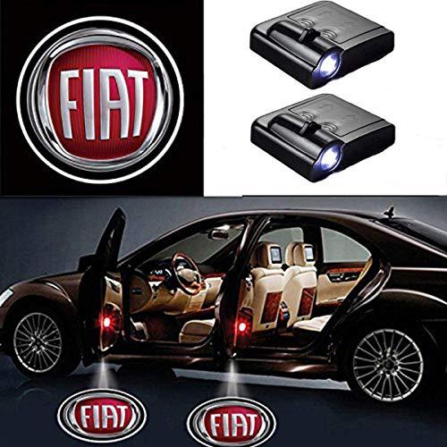 AllRing 2 Stück Drahtlose Autotür führte Willkommen Laser Projektor Logo Licht Geist Schatten Lampe Logos (FIAT)