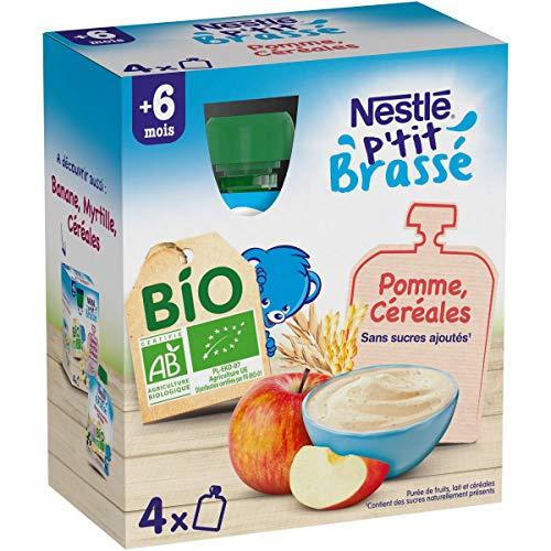 Nestlé Bébé P'tit Brassé BIO - Gourde lactée Pomme, Céréales - Dès 6 mois 4x90g