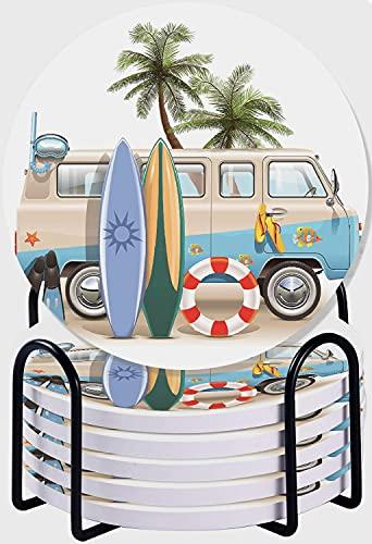 CIKYOWAY Posavasos para Bebidas,Tabla de Surf Tablas de Surf y Equipo de Buceo en Verano Juego de 6 Posavasos absorbentes con Soporte de Metal/Fondo de Corcho,para Casa Restaurante Y Bar