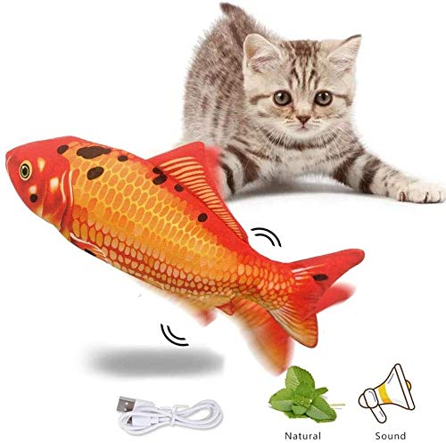 XINRUIBO Electric Moving Fish Realistic Plush Simulation Electric Wagging Fish Cat Toy Catnip Kicker Toys Funny Interactive Pets Pillow,Blue,4 pack cat kicker fish toy (Color : Red, Size : 1 pack)