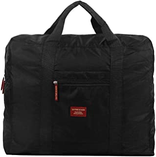 Waterproof Travel Duffel Bag Foldable Packable Lightweight High Capacity Luggage Nylon Tote Bag 1pc Black