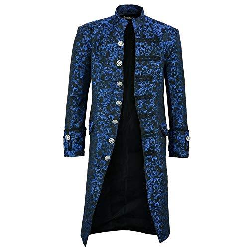 Z&Y Glaa Uomo Moda Cappotto Lungo Steampunk Giacca vittoriana Tailcoat Gotico Costume Vintage Cappotto con Colletto Dritto Stile Steampunk Maschi Giacca Tinta Unita alla Moda retrò Uomini Uniforme