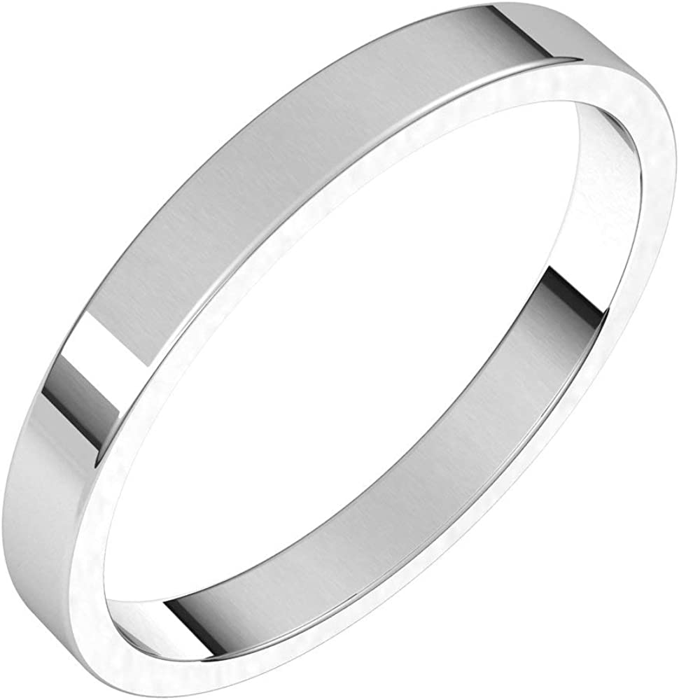14k White Same day shipping Gold 2.5mm Flat Bridal 4.5 Ring Size Wedding Super beauty product restock quality top! Band