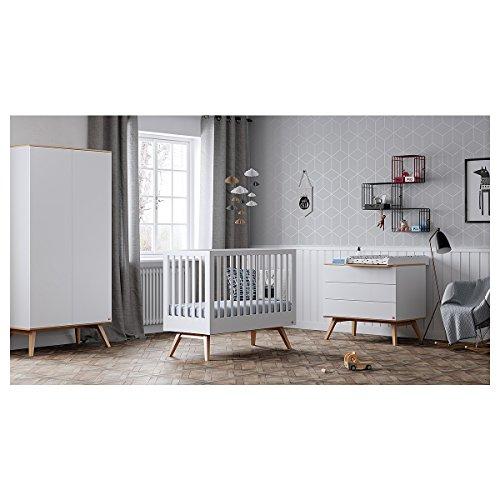 Chambre complète lit évolutif 70x140 - commode à langer - armoire 2 portes Nature - Blanc
