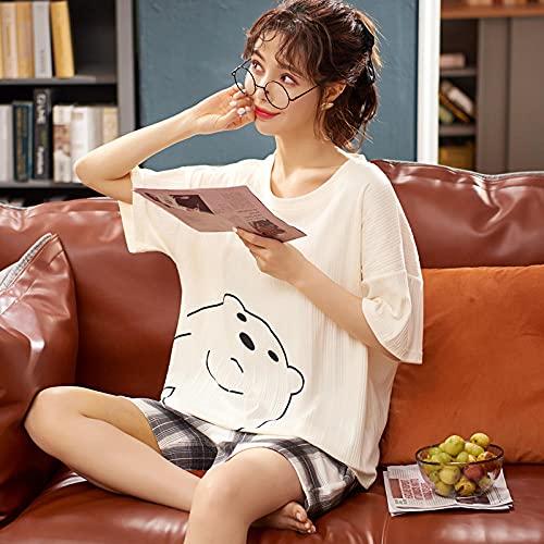 Cxypeng Pijama de señora Mujer,Traje de Dos Piezas de Manga Corta de algodón Modelo Delgado, Servicio a Domicilio de Pijamas para Estudiantes-M_E7,Ladies Comfy Pijamas Mujeres Soft