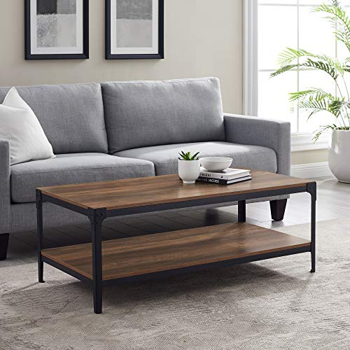 Walker Edison Declan Urban Industrial Angle Iron and Wood Coffee Table, 46 inch, Rustic Oak