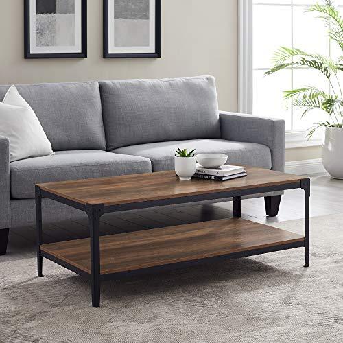 Walker Edison Declan Urban Industrial Angle Iron and Wood Coffee Table, 46 inch, Rustic Oak