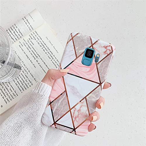 Surakey Cover Compatibile con Samsung Galaxy S9 Custodia Silicone Morbido Modello Geometric Marmo Case con Flessibile TPU Bumper Moda Ultra Slim Anti-Scratch Cover per Samsung Galaxy S9,Colorato