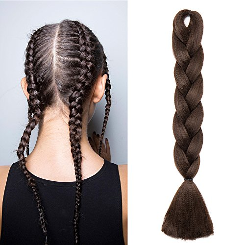 24'(60cm) Pelo Sintético para Hacer Trenzas Africanas Extensiones de Cabello Se Ve Natural Crochet Braiding Hair Extensions (100g,Castaño Chocolate)