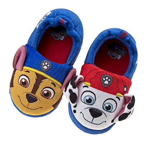 Nickelodeon Paw Patrol Boys and Girls Plush Slip On Slippers, Size 11-12 Little Kid, Blue