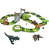 Dinosaurios Juguetes Pistas Circuito de Dinosaurio Tren Juguete Pistas de Coches de Juguetes Para Niños Vehículo Juego de Dinosaurios, Pista Flexible Regalos Educativos Para Niño 3 4 5 Años - 147 Pcs