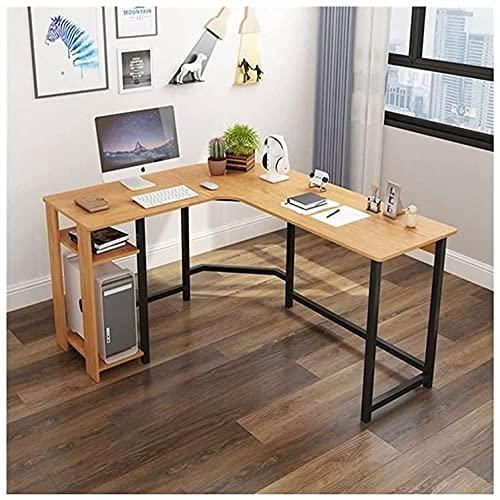 Escritorio de pie en forma de L, moderno escritorio esquinero para casa, oficina, escritorio, escritorio multipersona, para el hogar, estudio, estación de trabajo, escritorio (color: blanco)-marrón