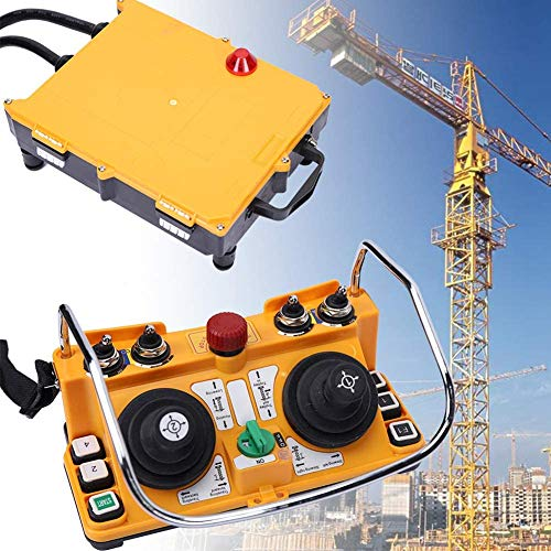 Transmitter Receiver Industry Remote Control F24-60 24V AC/DC Wireless Joystick Crane, Suitable for Bridge Crane, Overhead Crane, Chain Hoist, Monorails, Concrete Pump Truck (1 Transmitter+1 Receiver)