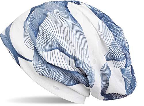 styleBREAKER styleBREAKER Beanie Mütze mit asymetrischem Guilloche Muster im Destroyed Vintage Look, Unisex 04024073, Farbe:Blau-Weiß