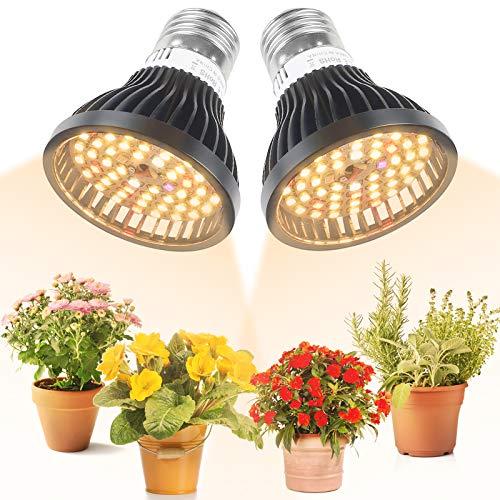 LVJING Grow Light Bulbs, 2 Pack Full Spectrum Light Bulb, 40W Grow Lights for Indoor Plants, E26/E27 Plant Light for Hydroponics Greenhouse Houseplants Vegetable Tobacco, Sunlight White UV IR