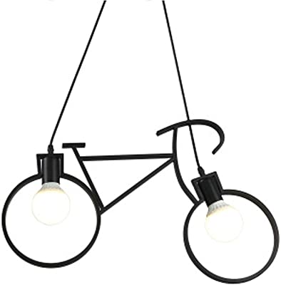 Zenghh Bicicleta luz pendiente, techo creativo de hierro forjado ...