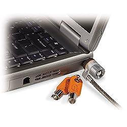 Kensington 64020 - Candado con Llave para Portátiles Microsaver con Cable de Alto Carbono Resistente a los Cortes y Mecanismo de Bloqueo en Barra T, 1.8 m de Longitud, Gris