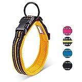 Petcomer Collare Cane Imbottito Nylon Regolabile Traspirante Riflettente Collari per Cani Gatti(Arancione XL)