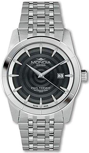 Mondia swiss Paul vermot Reloj para Hombre Analógico de Cuarzo Suizo con Brazalete de Acero Inoxidable MS 204-1BK-BM