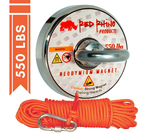 Red Rhino - Military Grade (N52) 550 lbs Pull Force Neodymium Fishing Magnet with 65 ft Rope & Carabiner - Magnet Fishing Kit Strong Retrieving Rare Earth Permanent Magnets Set Magnahook