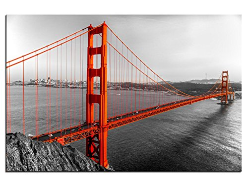 Kunst-discounter A05290 - Quadro su tela, motivo: Golden Gate Bridge USA, 90 x 60 cm