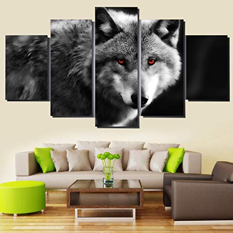 comprar ahora Xkkzka HD Impreso Moderno Lienzo Sala De Estar Fotos Pintura Pintura Pintura 5 Unidades Pcs Wolf rojo EyesWall Art Modular Poster Decoración del Hogar-Marco  tomamos a los clientes como nuestro dios